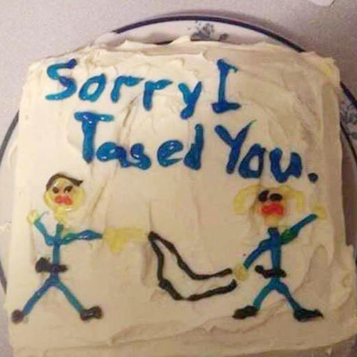 "This photo released by Alistair McKenzie shows the cake received by his client Stephanie Byron.  Byron's lawsuit says a deputy shot her with a stun gun, then apologized with a cake that said, ""Sorry I Tased You"" in blue frosting. The lawsuit, filed in federal court in Pensacola, Fla., alleges former Escambia County sheriff's deputy Michael Wohlers violated Byron's civil rights, committed battery against her and caused her hardships, including physical injuries, monetary loss, medical expenses, humiliation and mental anguish. (Courtesy of  Alistair McKenzie via AP)"