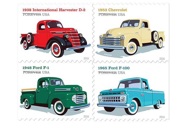 米国のクラシックなピックアップ・トラックを描いた切手が登場
