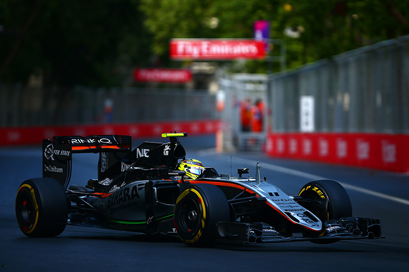 Sergio Perez of Mexico drives the 1 Sahara Force India F1 Team VJM09 Mercedes PU106C Hybrid turbo during the European Formula One Grand Prix at Baku City Circuit on June 19, 2016 in Baku, Azerbaijan.