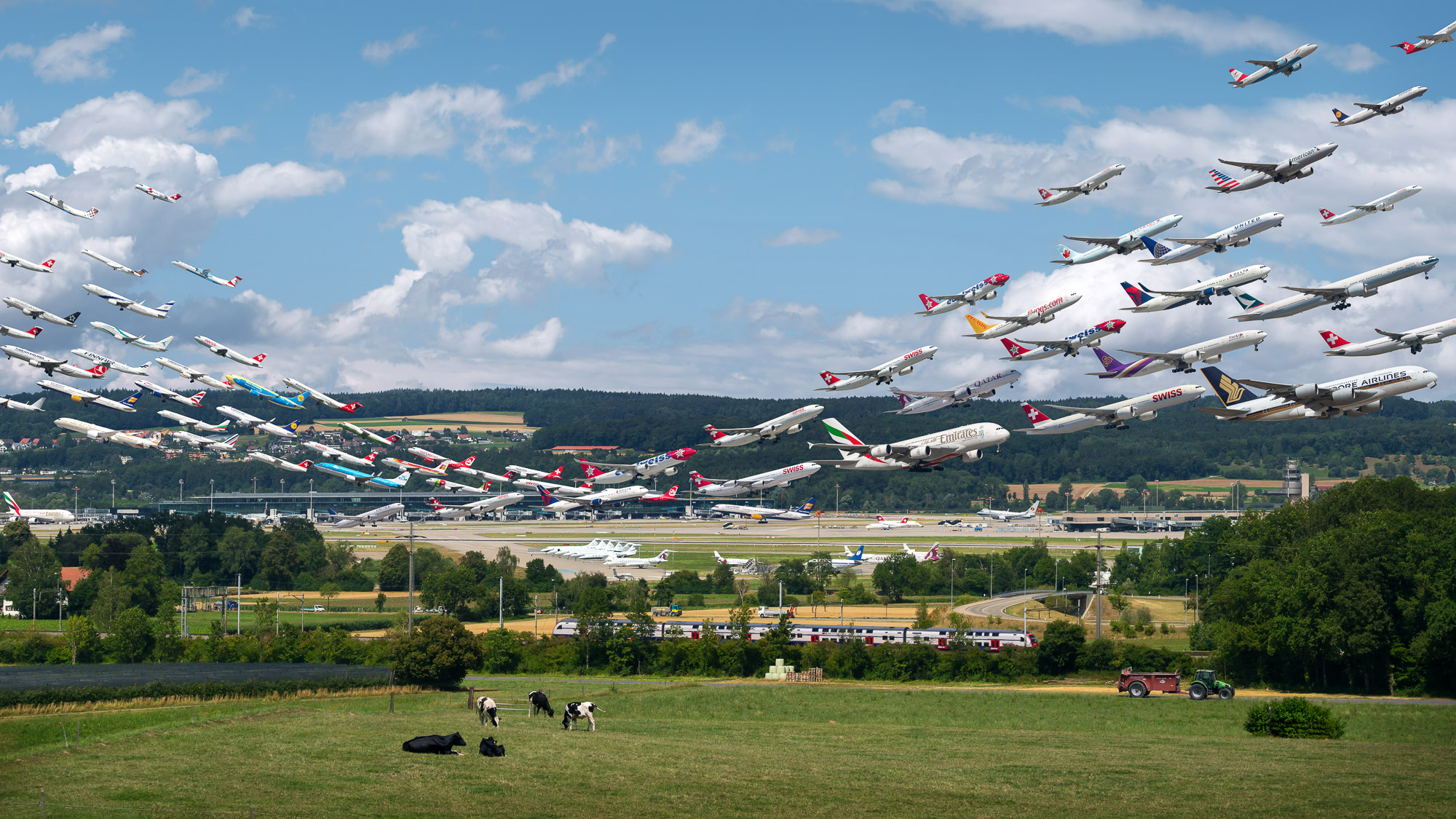"Aircraft take flight from Zurich Airport, Switzerland, in one of Mike Kelley's ""Airportraits"" images."