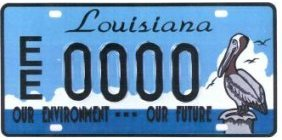 State of louisiana environmental license plate