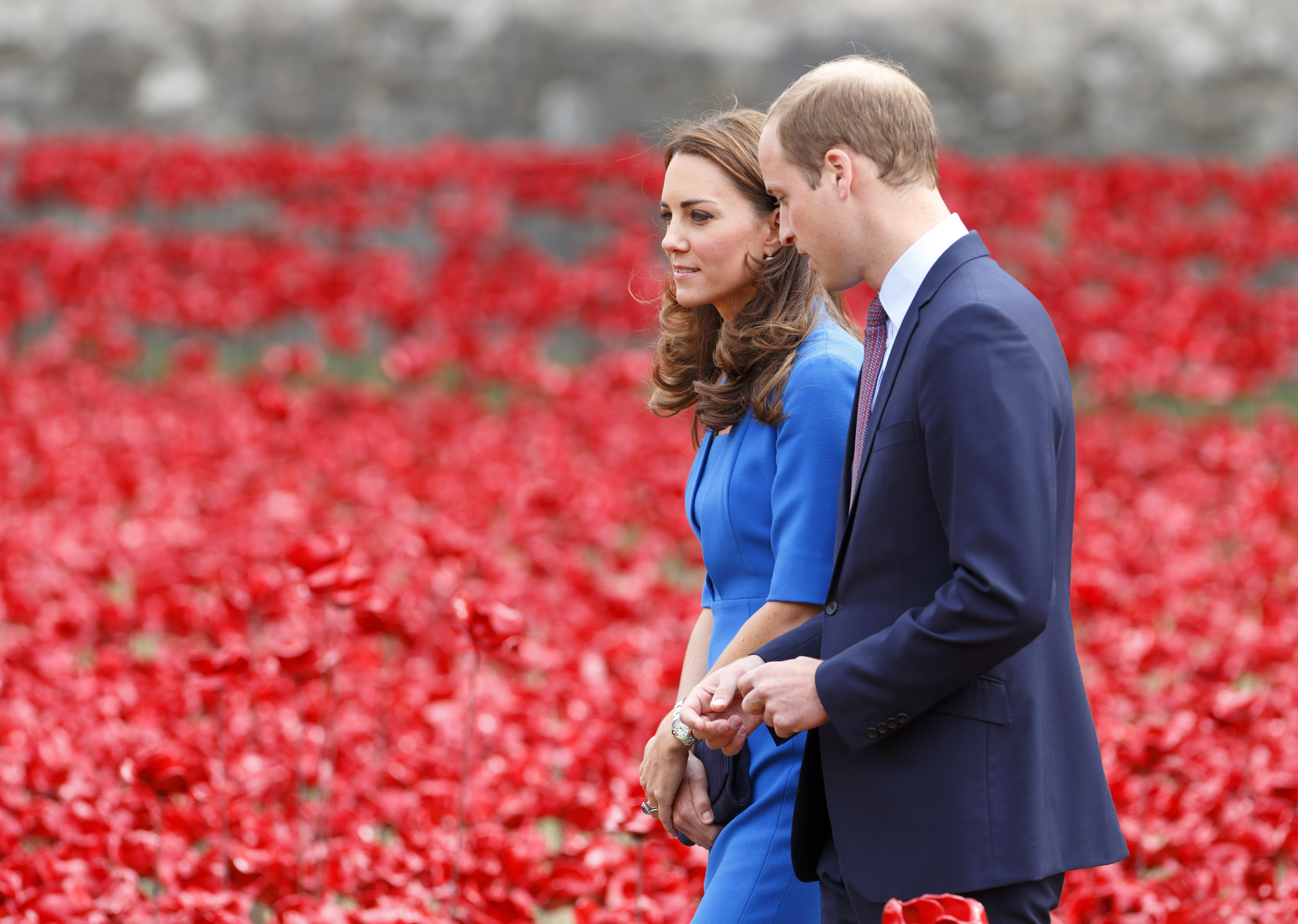 Duke And Duchess Of Cambridge And Prince Harry Visit Tower Of London's Ceramic Poppy Field