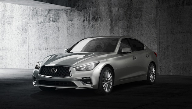 """The 2018 INFINITI Q50 sports sedan features a refreshed exterior and interior design, as well as innovative technologies designed to empower and support the driver. While it retains its sleek proportions and athletic stance, the new Q50 establishes greater visual differentiation between model versions, including the performance-inspired Red Sport 400, which is designed in line with its """"designed to perform"""" ethos."""