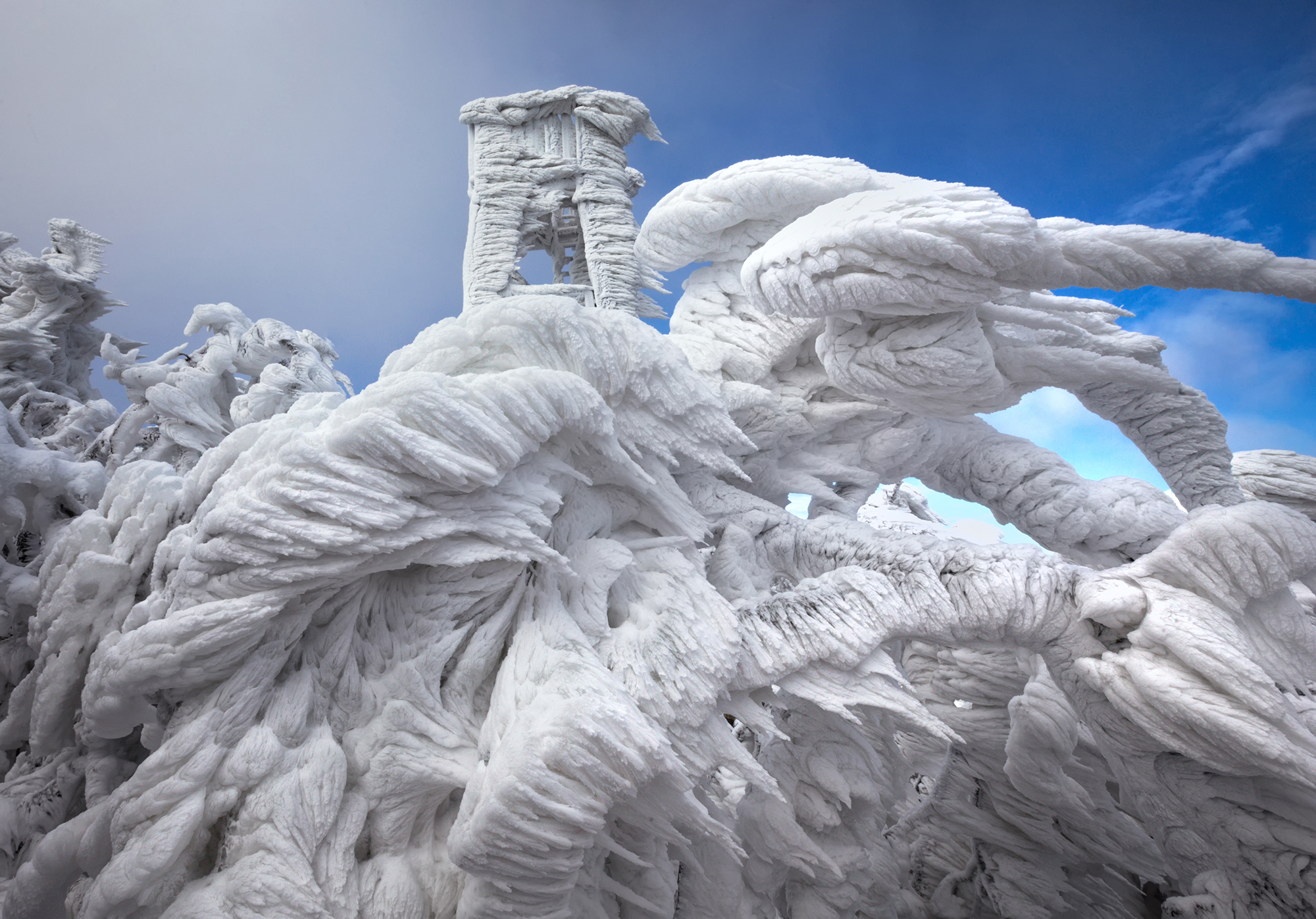 ***EXCLUSIVE***JAVORNIK, SLOVENIA - DECEMBER 9: Ice formations are seen on the arctic landscape on Mount Javornik on December 9, 2014 in Javornik, Slovenia.*GC*