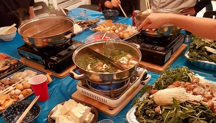 Enjoying Hot Pot with my partner and his