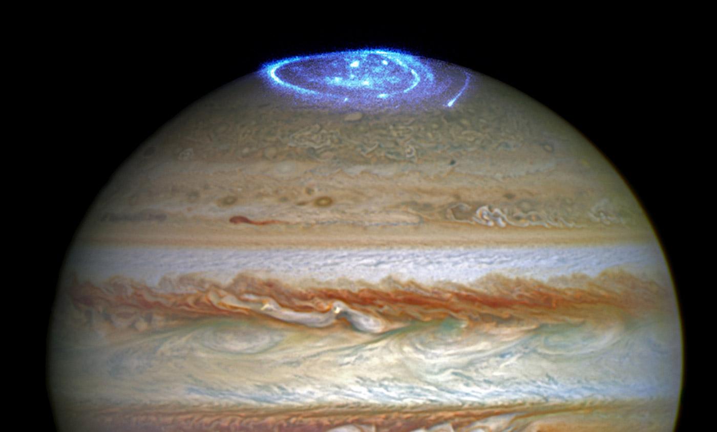 Hubble photographs Jupiter's dramatic auroras