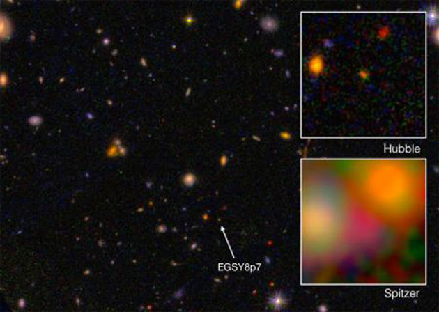 EGS8p7 is nothing but a dot to space telescopes