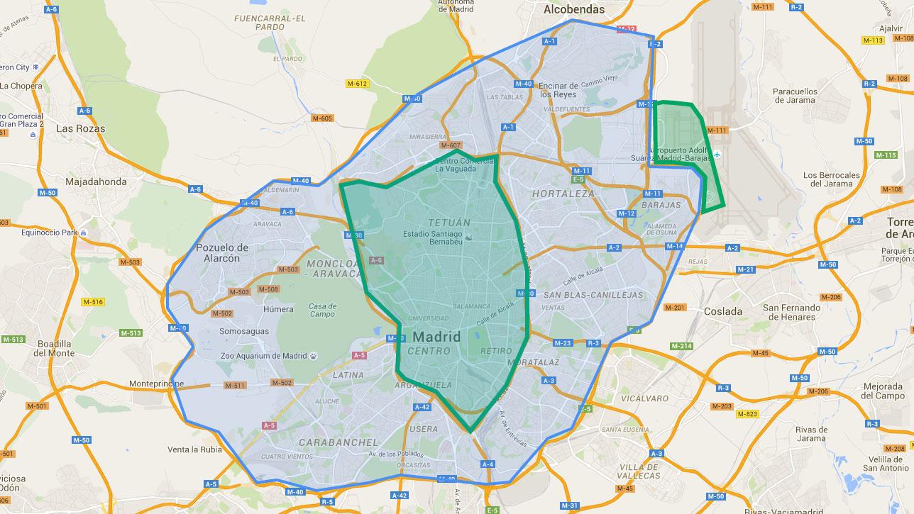 Mapa Zona Azul Y Verde Madrid.Todo Lo Que Tienes Que Saber Sobre La Vuelta De Uber A