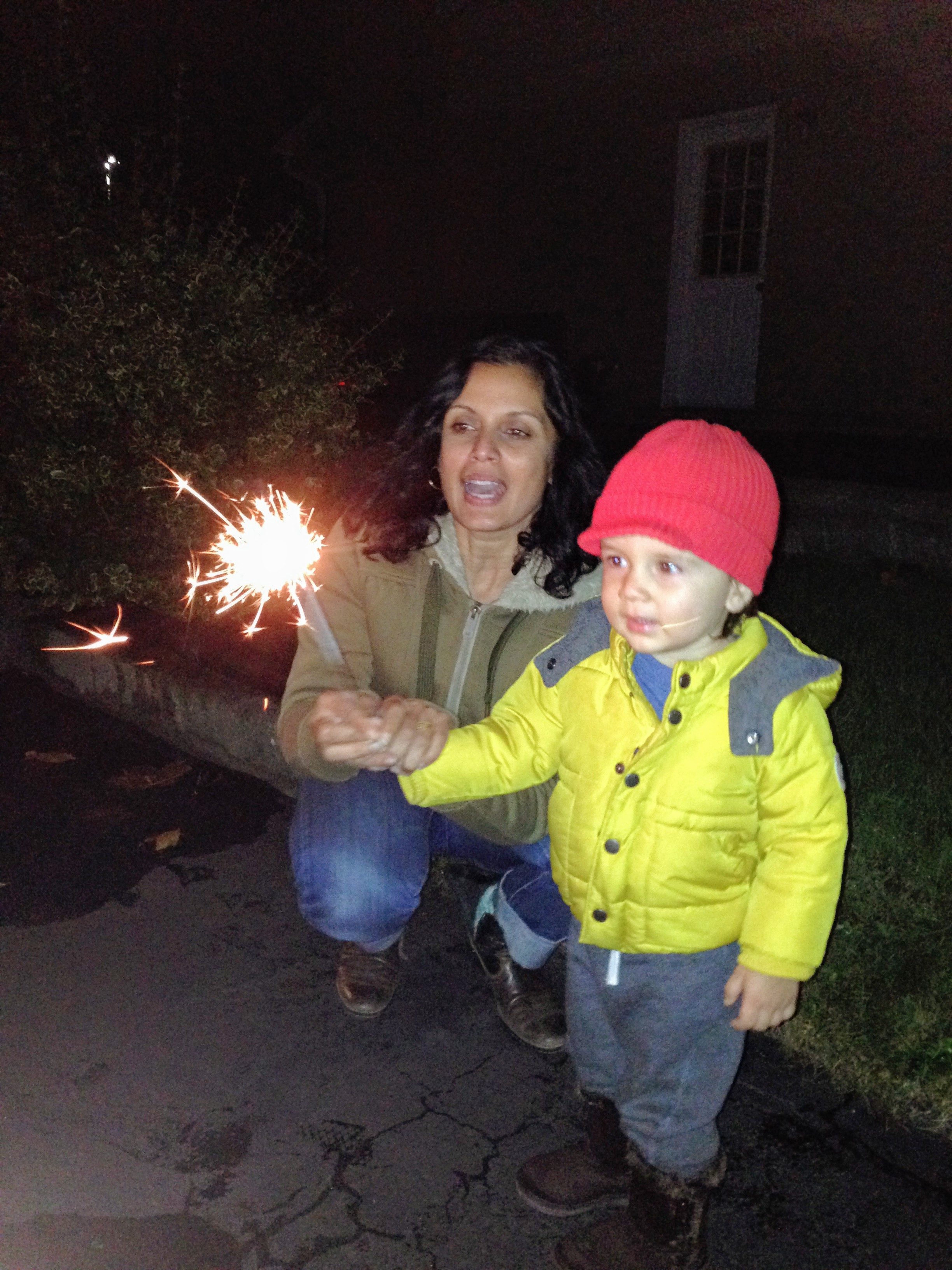 """""""He was a bit nervous to light the sparkler but ended up loving it,"""" says Henna Patel, who..."""