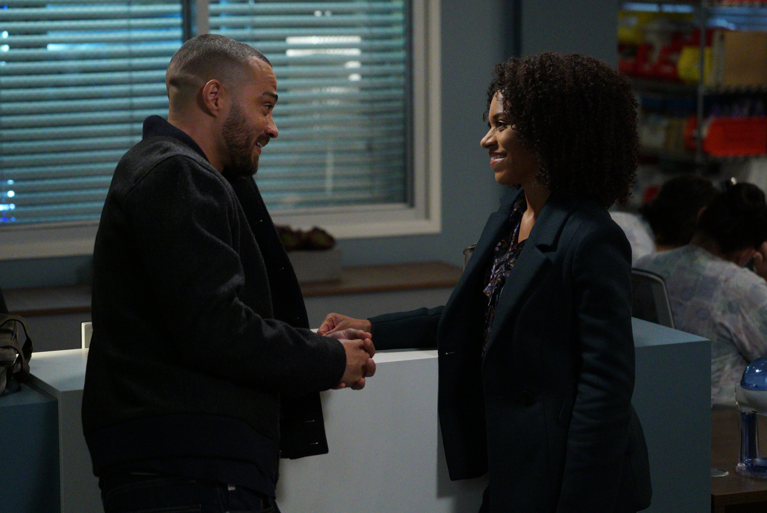 """GREY'S ANATOMY - """"Four Seasons in One Day"""" - Jo finally faces her estranged, abusive husband Paul Stadler, while Grey Sloan continues to work with the FBI after a hacker has compromised the hospital's computer system, on the midseason return of """"Grey's Anatomy,"""" THURSDAY, JAN. 18 (8:00-9:00 p.m. EST), on The ABC Television Network. (ABC/Richard Cartwright)JESSE WILLIAMS, KELLY MCCREARY"""