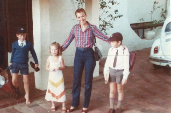 Kimbal, Tosca, and Elon Musk (Right) pose with their mother, Maye, before school in a childhood photo,...