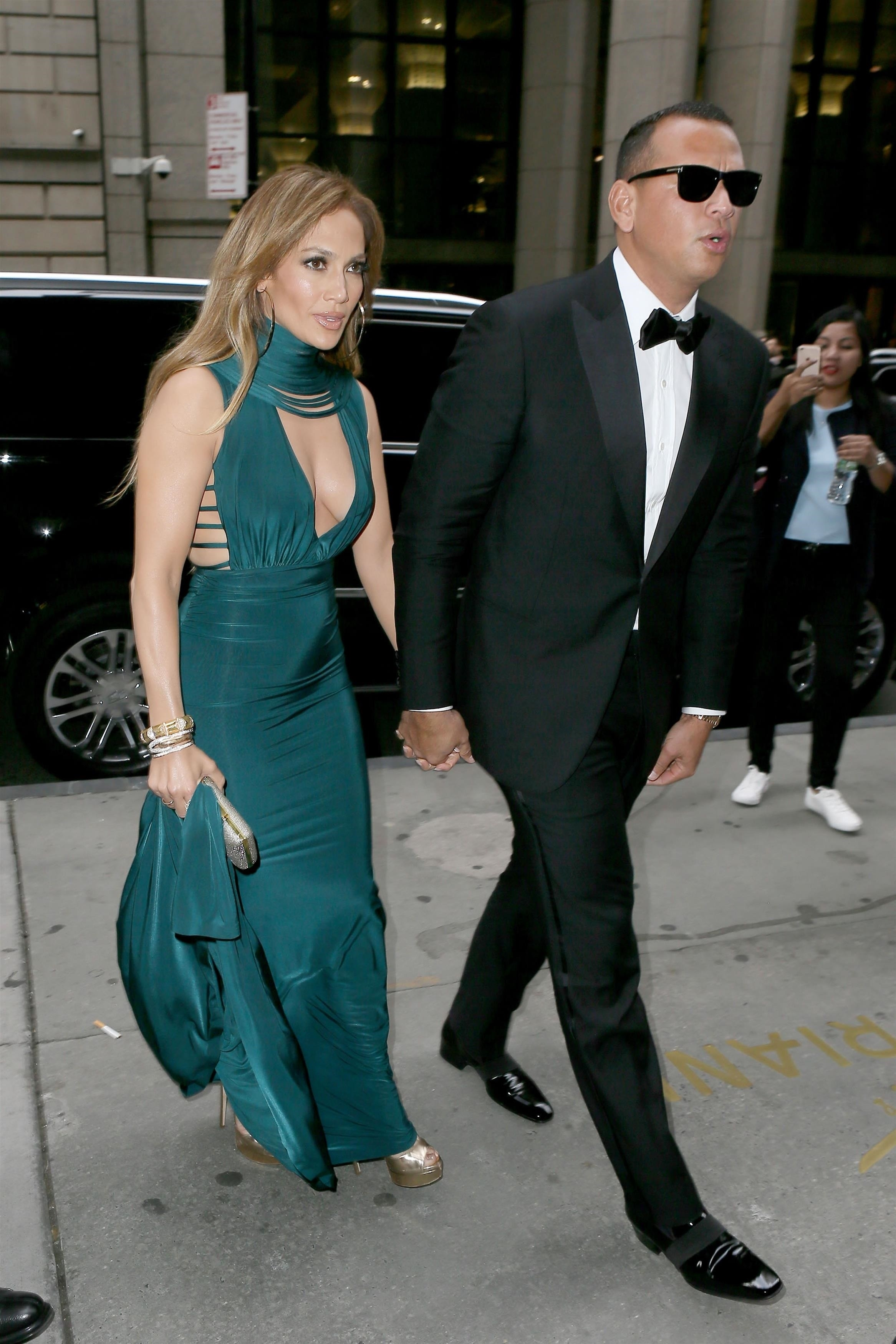 New York, NY  - Couple Jennifer Lopez and Alex Rodriguez show off their style as they are spotted heading into friends wedding at Cipriani's Wall Street in New York. Jennifer was rocking a teal gown as Alex was sporting a black tuxedo.  Pictured: Jennifer Lopez, Alex Rodriguez  BACKGRID USA 6 AUGUST 2017   USA: +1 310 798 9111 / usasales@backgrid.com  UK: +44 208 344 2007 / uksales@backgrid.com  *UK Clients - Pictures Containing Children Please Pixelate Face Prior To Publication*