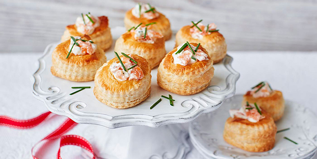 Smoked salmon and chive vol au vents