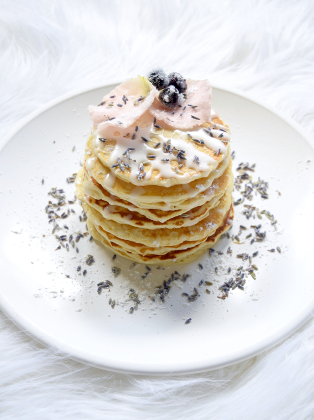 Are these the most luxurious pancakes ever aol lifestyle these pancakes were made with our regular pancake recipe covered with an icing drizzle lavender sugared rose petals blueberries ccuart Gallery