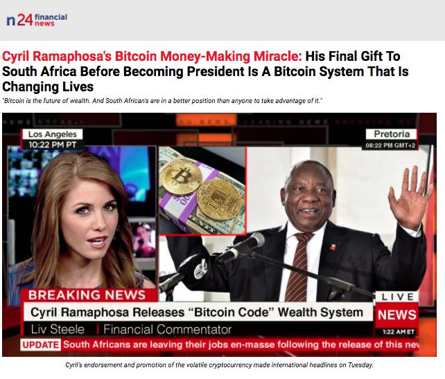 Ramaphosa Dismisses Fake-News Sites' BEE And Bitcoin Stories