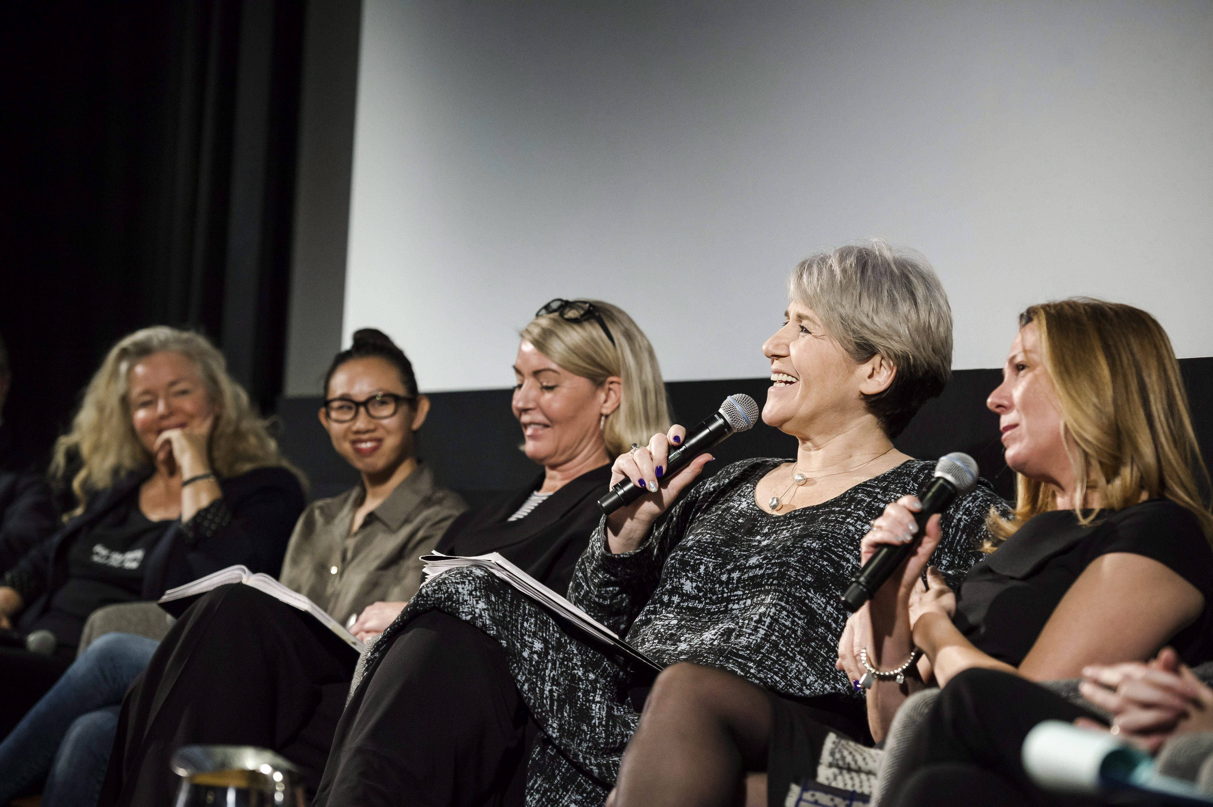 """Theresa Tova, National Treasurer and Toronto President of ACTRA, speaks at an event entitled """"Confronting..."""