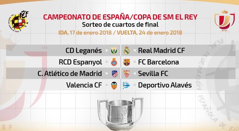 Leganés-Madrid, Espanyol-Barça y Atlético-Sevilla, en cuartos de