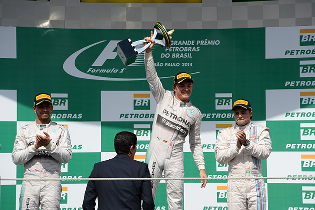 The final podium at the 2014 F1 Grand Prix of Brazil.