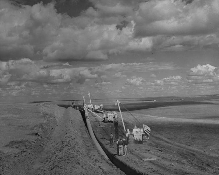A photo from 1957 showing the construction of the TransCanada