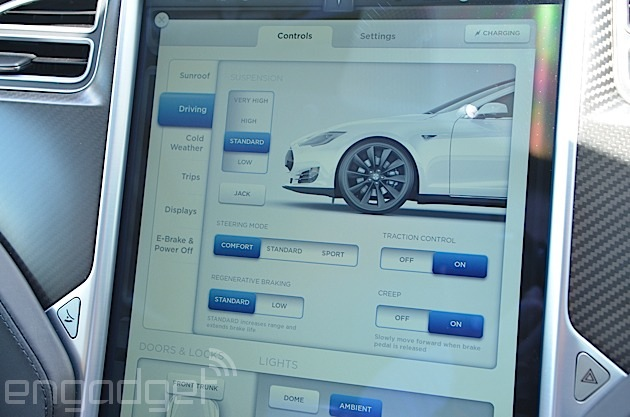 Tesla S car controls