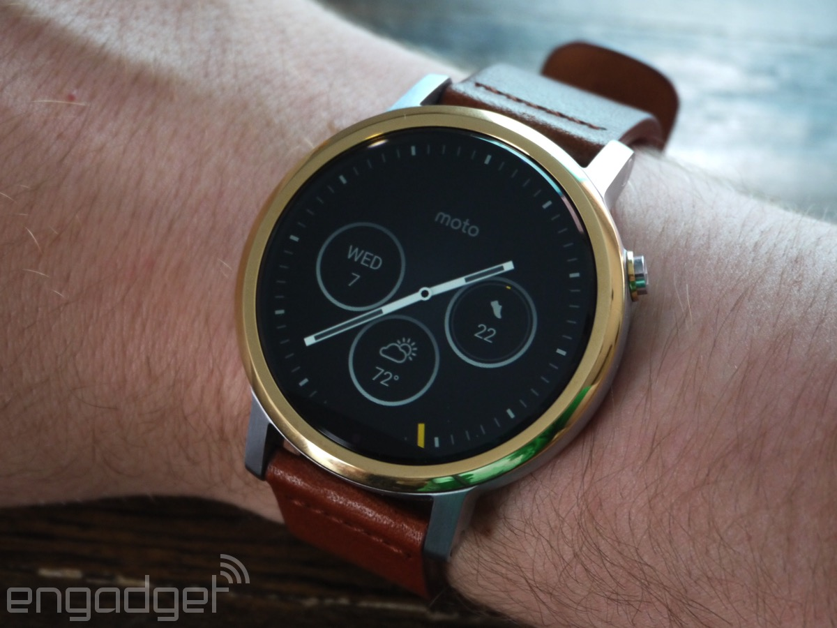 On your wrist. Since it's running Android Wear, using the Moto 360 ...