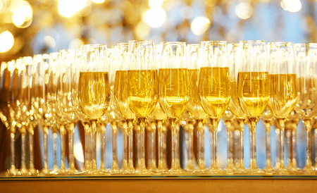 65631670 - champagne glasses on new year party. concept event picture. selective