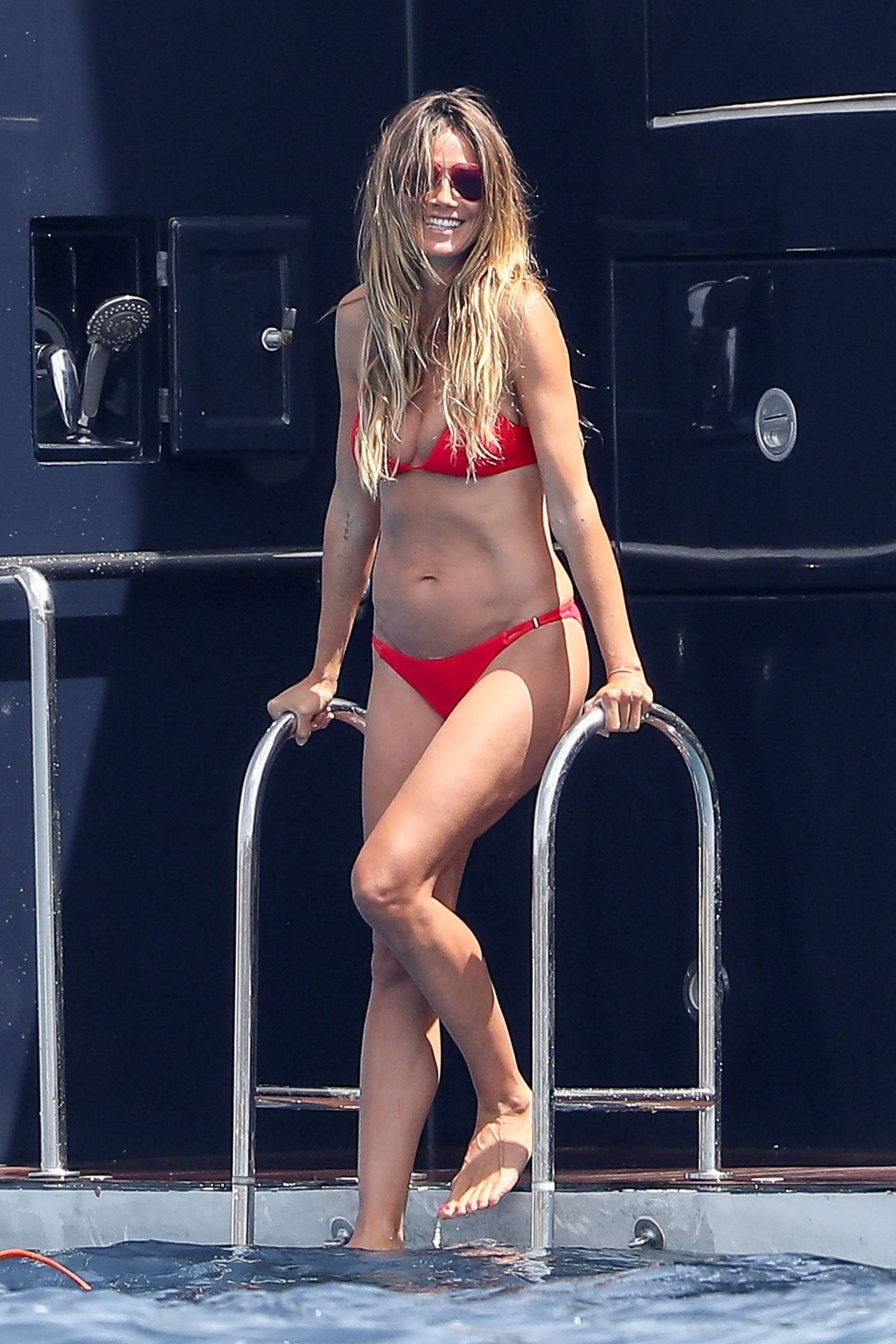 *EXCLUSIVE* ** RIGHTS: ONLY UNITED STATES, CANADA ** St Tropez, FRANCE  - Former Supermodel Heidi Klum looked incredible as she soaked up the Sun in St. Tropez with boyfriend Vito Schnabel and fashion designer Zac Posen.  Pictured: Heidi Klum  BACKGRID USA 27 JULY 2017   BYLINE MUST READ: Best Image / BACKGRID  USA: +1 310 798 9111 / usasales@backgrid.com  UK: +44 208 344 2007 / uksales@backgrid.com  *UK Clients - Pictures Containing Children Please Pixelate Face Prior To Publication*