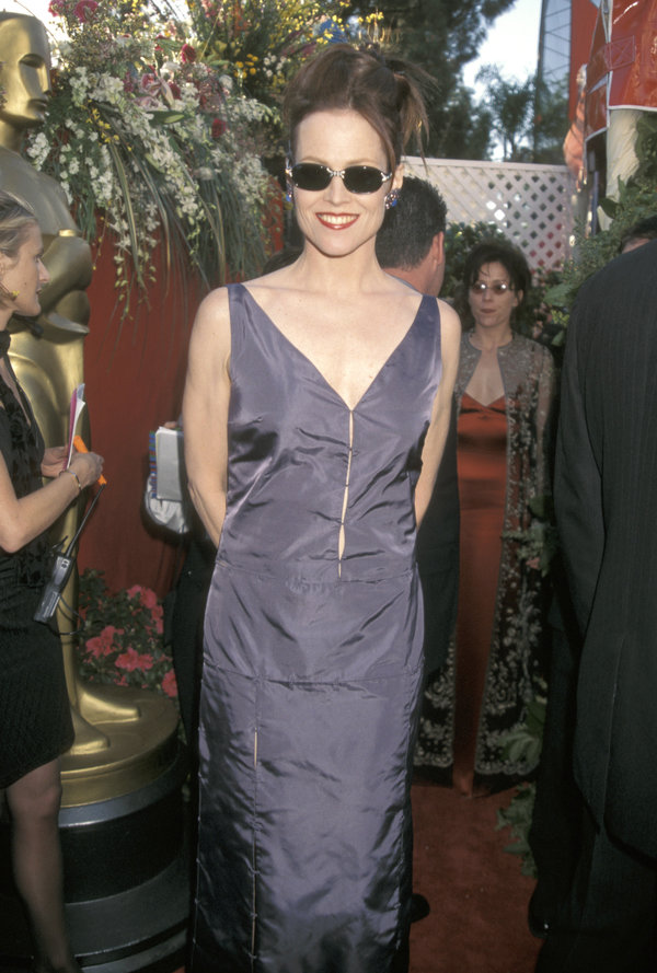 Sigourney Weaver during The 70th Annual Academy Awards - Red Carpet at Shrine Auditorium in Los Angeles,...