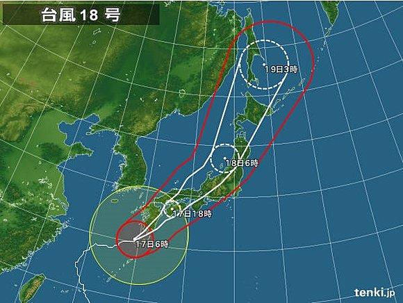 台風12号ジョンダリの進路予想図とアメリカ米 …