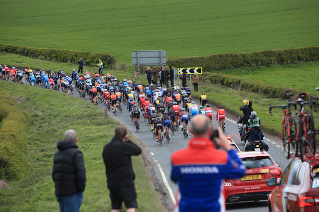 A general view as cyclists pass through the village of Ruston Parva during stage one of the Tour de Yorkshire between Bridlington to Scarborough.