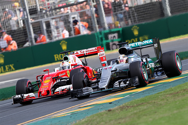 Mercedes and Ferrari race at the 2016 Australian Formula 1 Grand Prix.