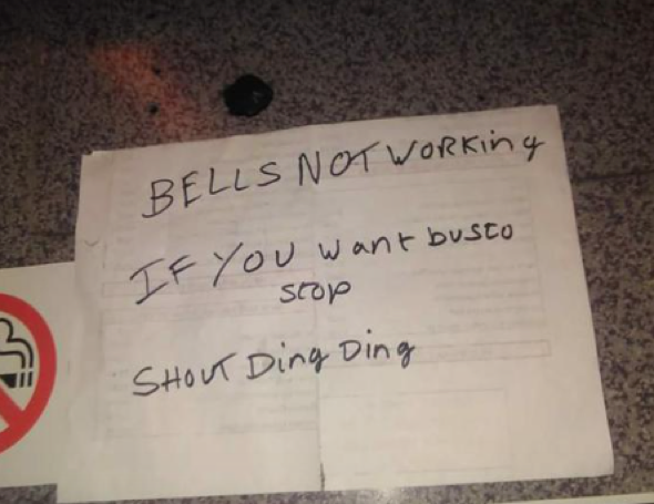 Stop bell on bus breaks, driver gets creative