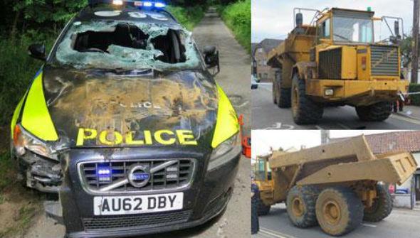 Norfolk Police dumper truck chase