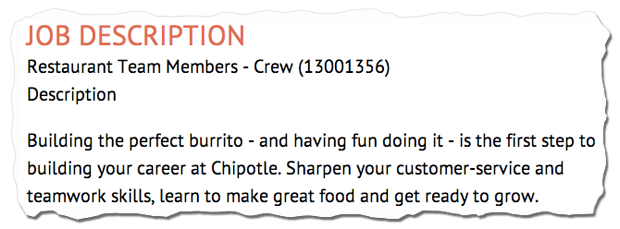 job descriptions decoded  chipotle restaurant team member job