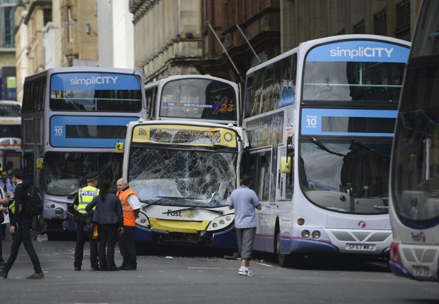 Runaway bus causes chaos in Glasgow