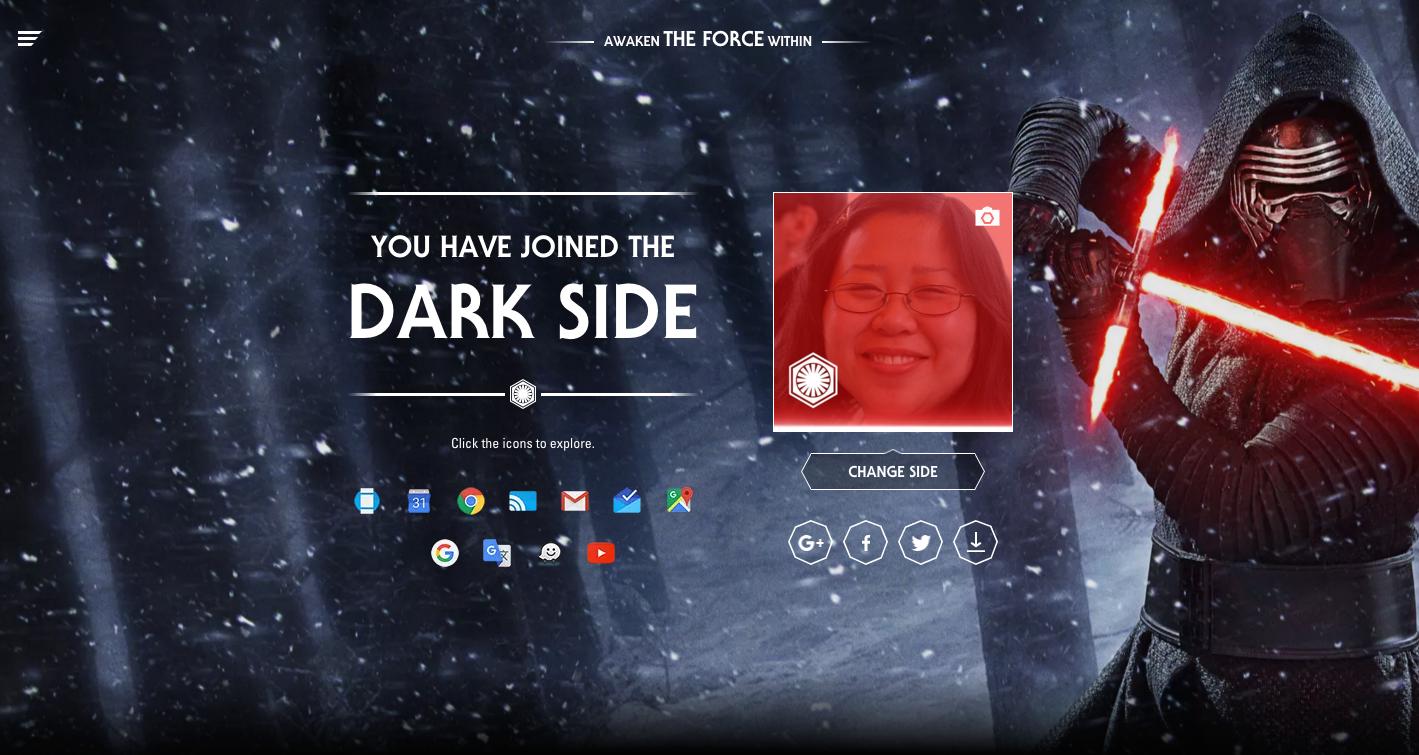 googleがまるごとスター ウォーズ化 ダークサイド ライトサイドを