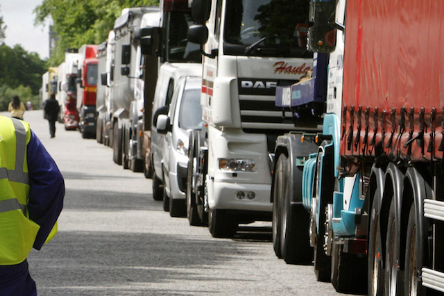 Trucks parked on Regent Road in Edinburgh following a protest about the rising cost of fuel.