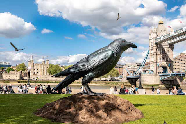 EDITORIAL USE ONLYA supersized (2.5 meter tall) replica of Britain's most elusive bird, the raven, has been created by smartphone manufacturer Huawei, as they reveal new research about our love of British wildlife, Potters Field Park, London. PRESS ASSOCIATION Photo. Picture date: Thursday May 10, 2018. The raven was found to be the rarest form of British wildlife, and least likely to be seen by members of the public according to the research. The new Huawei P20 Pro features a 5 x hybrid zoom which makes capturing stunning images of wildlife much easier. Other giant ravens will be appearing around the UK in Glasgow, Edinburgh, Newcastle, York, Leeds, Manchester, Liverpool, Birmingham and Cardiff this weekend. Photo credit should read: John Nguyen/PA Wire.