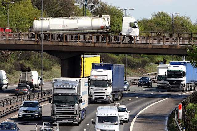 File photo dated 12/04/12 of lorries on the M6 near Birmingham, as the Driver and Vehicle Standards Agency (DVSA) has said that one in 13 lorries examined as part of a Government crackdown on air quality violations were fitted with cheat devices.