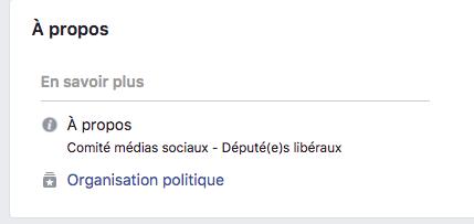 La page Facebook des libéraux soulève des questions