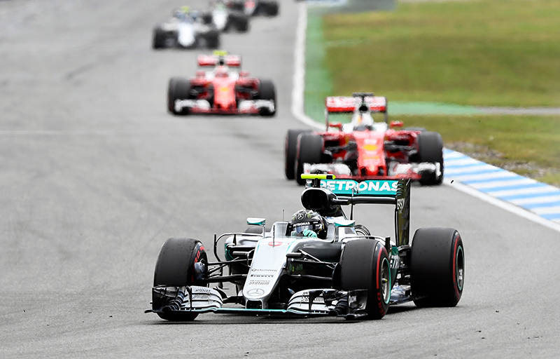 Mercedes driver Nico Rosberg of Germany takes a curve during the German Formula One Grand Prix in Hockenheim, Germany, Sunday, July 31, 2016.