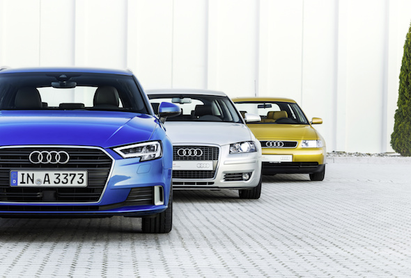 Audi A3, Generation 1, Year of manufacture 1996Audi A3 Sportback, Generation 2, Year of manufacture 2004Audi A3 Sportback, Generation 3, Year of manufacture 2016