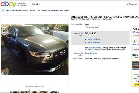 Crashed David Beckham Audi RS6 for sale