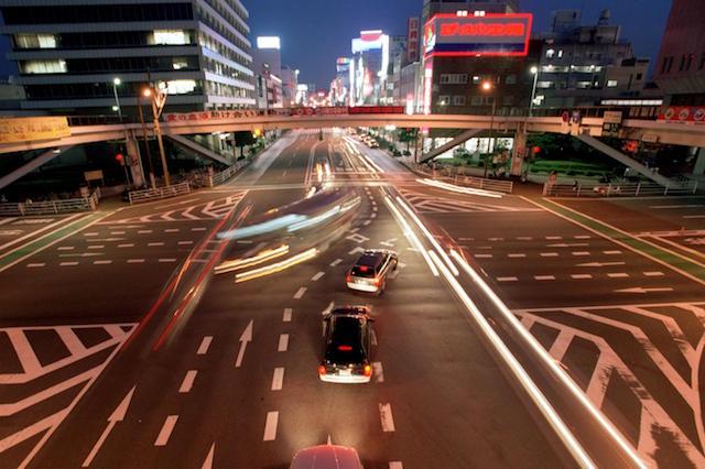 Night time traffic in Oita