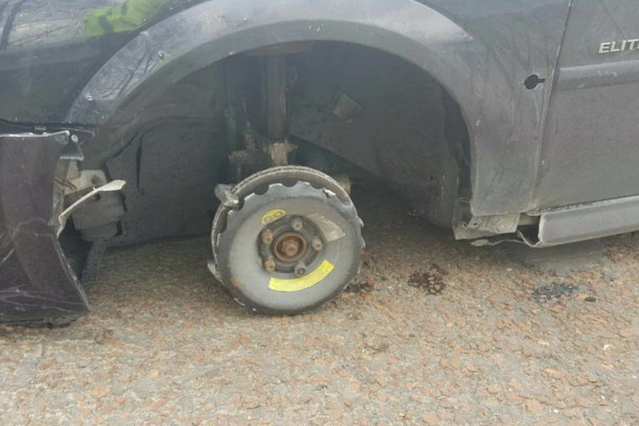 Motorist stopped on the M55 for driving without a tyre