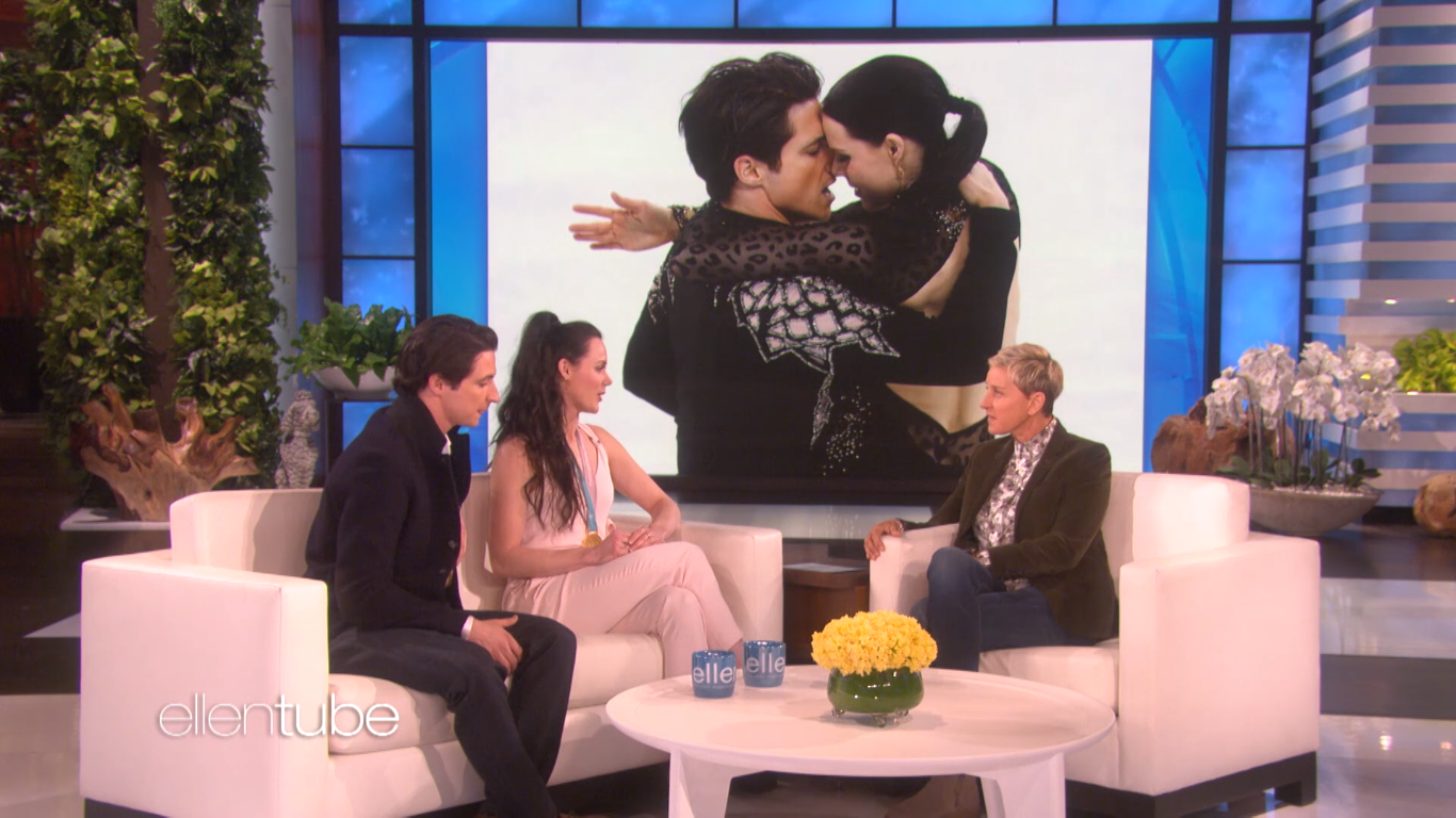 "Virtue and Moir discuss their on-ice chemistry on ""The Ellen DeGeneres Show"" in a clip posted..."