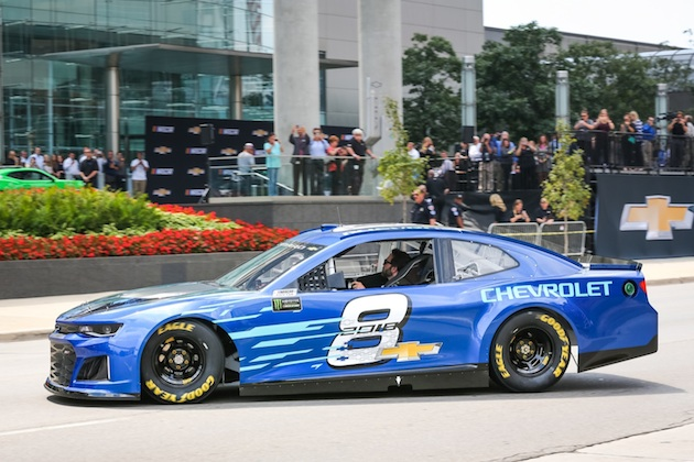 Seven-time NASCAR Cup champion Jimmie Johnson — driver of the #48 Lowe's Chevrolet for Hendrick Motorsports - drives up in the Chevrolet 2018 Camaro ZL1 NASCAR Cup Race Car at it's world debut Thursday, August 10, 2017 in front of the General Motors Renaissance Center Global Headquarters in Detroit, Michigan. The Camaro ZL1 will make its competition debut next February during Daytona Speedweeks, which kicks off the 2018 NASCAR season. (Photo by John F. Martin for Chevrolet)