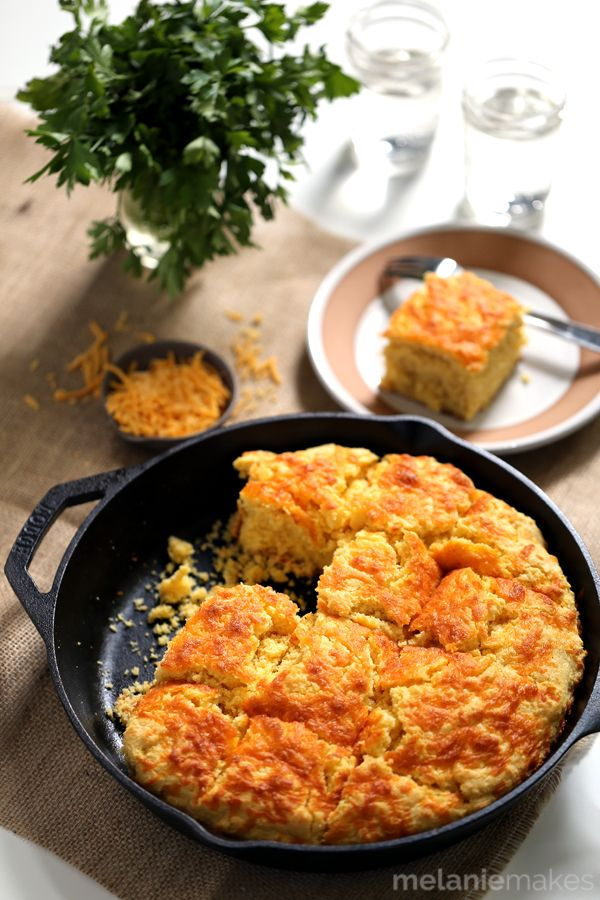 Skillet cornbread with cheddar and cream cheese