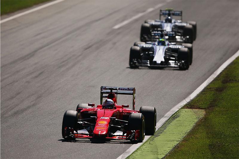 Sebastian Vettel drives during the 2015 Italian F1 Grand Prix.