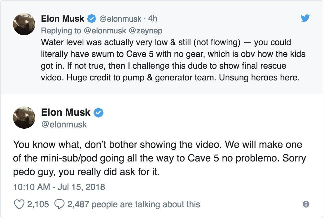 In latest Twitter tirade, Elon Musk calls Thai cave rescuer
